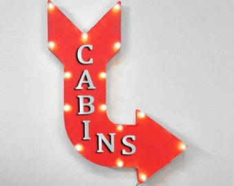 """On Sale! 24"""" CABINS Curved Metal Arrow Sign - Air Bnb Room For Rent Lodge Cabin - Plugin, Battery or Solar - Rustic Vintage Light Up Marquee"""