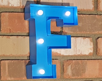 "ON SALE 9"" Letter F - Battery Operated Metal Marquee Sign LED Light with Extra Bulbs. Batteries Included! Blue"