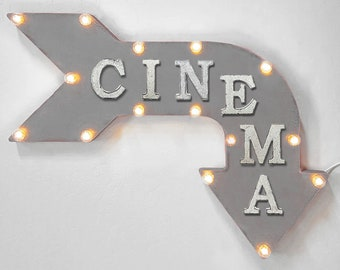"On Sale! 24"" CINEMA Curved Metal Arrow Sign - Movie Movies Theater Theatre Big Screen Film Room - Rustic Vintage Marquee Light Up"