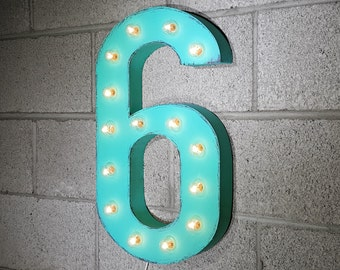 ON SALE! Plug-In Number 6 Six. 14 Color Options! Rustic Metal Marquee Light Up Sign. We have ALL the numbers 0 1 2 3 4 5 6 7 8 9