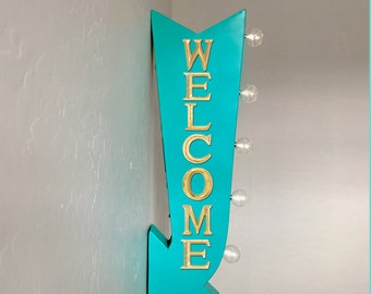 """On Sale! 25"""" WELCOME Come In Enter Here Open Plugin or Battery Operated Rustic led Double Sided Rustic Metal Arrow Marquee Light Up Sign"""
