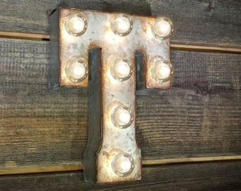 "ON SALE 7"" Letter T - Small Rustic Metal Marquee LED Plugin Sign Alphabet Light Up - 21 Available Colors!"