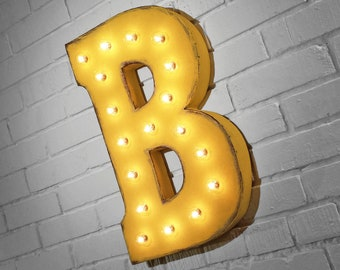 """ON SALE! 21"""" Metal Letter B - Plugin, Battery Operated or Solar Powered - Rustic Nostalgic Vintage Style - Light Up Marquee Letter Sign."""