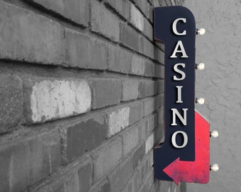 """On Sale! 30"""" CASINO Metal Arrow Sign - Plugin or Battery Operated - Gamble Gambling Play Win Games - Double Sided Rustic Marquee Light Up"""