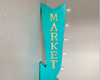 "On Sale! 25"" MARKET Shop Store Shopping BoHo Plugin or Battery Operated Rustic led Double Sided Rustic Metal Arrow Marquee Light Up Sign"
