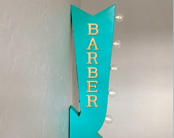 """On Sale! 25"""" BARBER Hair Cuts Cut Salon Stylist Plugin or Battery Operated Rustic led Double Sided Rustic Metal Arrow Marquee Light Up Sign"""