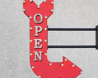 "On Sale! 36"" OPEN Metal Arrow Sign - Come In Entrance Welcome Store Shop - Double Sided Hang or Suspend - Rustic Marquee Light Up"