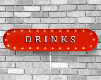 """On Sale! 39"""" DRINKS Metal Oval Sign - Cocktails Beer Brewery Bar Pub Wine Martini Vodka Shots - Vintage Style Rustic Marquee Light Up"""