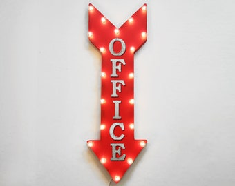 "On Sale! 36"" OFFICE Metal Arrow Sign - Plugin or Battery Operated Led - Desk Work Space Shop Reception - Rustic Marquee Light up"