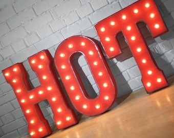 ON SALE! HOT Sexy Stuff Red Fashion Vogue Pop Free Standing or Hang. Rustic Metal Vintage Style Marquee Sign Light Up Letters 24 Colors