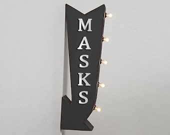 """On Sale! 25"""" MASKS Metal Arrow Sign - Health Public Mask Required - Plugin or Battery Operated Rustic Double Sided Rustic Marquee Light Up"""
