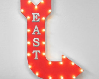 """On Sale! 36"""" EAST Metal Arrow Sign - Plugin or Battery Operated - Hiking Trail Camp North South West Direction - Rustic Marquee Light up"""