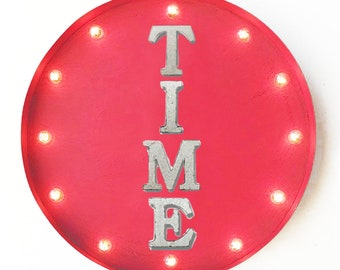 "On Sale! 20"" TIME Round Metal Sign - Plugin or Battery Operated - Clock Now Come - Rustic Vintage Marquee Light Up"