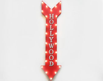 "On Sale! 48"" HOLLYWOOD Metal Sign - Plugin or Battery Operated - Glamour Famous - Vintage Rustic Marquee Arrow Light Up"