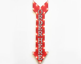 "On Sale! 48"" ORDER HERE Metal Sign - Plugin or Battery Operated - Pay Food Restaurant Bar Cafe - Vintage Rustic Marquee Arrow Light Up"