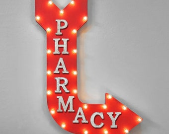 """On Sale! 36"""" PHARMACY Metal Arrow Sign - Plugin or Battery Operated - Drugs Pills Prescription Vitamins - Rustic Marquee Light up"""