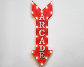 "ON SALE! 36"" ARCADE Video Games Play Entertainment Plug-In or Battery Operated led Light Up Restaurant Large Rustic Metal Marquee Sign Arrow"