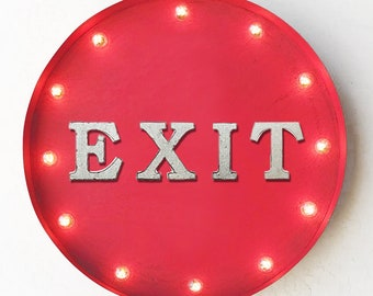 "ON SALE! 20"" EXIT Plugin or Battery Operated led Rustic Metal Round Marquee This Way Out Salida Open Enter Come In Light Up Sign. 14 Colors!"