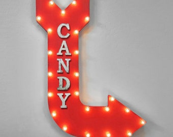 "ON SALE! 36"" CANDY Sweets Chocolate Truffle Dessert Shop Sugar Double Sided Hanging Suspended Hang Rustic Metal Marquee Light Up Sign Arrow"