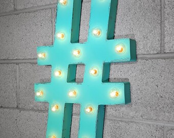 """ON SALE! 21"""" Metal Letter Hash Tag - Plugin, Battery Operated or Solar - Rustic Nostalgic Vintage Style - Light Up Marquee Symbol Sign"""