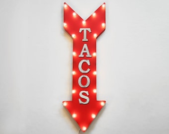 "On Sale! 36"" TACOS Metal Arrow Sign - Plugin or Battery Operated Led - Taco Truck Mexican Style Food - Rustic Marquee Light up"