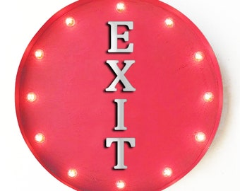 """On Sale! 20"""" EXIT Round Metal Sign - Plugin, Battery or Solar - Way Out Salida Open Enter This Way - Rustic Vintage Marquee Light Up Sign"""