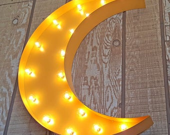 """ON SALE! 24"""" Plug In or Battery Operated Led. Non-Rustic or Rustic. Crescent Half Moon Star Metal Marquee Light Up Sign - 23 COLOR options!"""