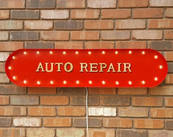 "On Sale! 39"" AUTO REPAIR Auto Car Vehicle Repair Mechanic Grease Monkey Vintage Style Rustic Metal Marquee Light Up Sign"