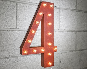"""On Sale! 21"""" 4 Metal Sign - Number 4 Four Cuatro 0 1 2 3 4 5 6 7 8 9 Free Standing or Hang - Rustic Vintage Marquee LED Light Up"""