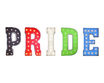 "On Sale! 21"" PRIDE Metal Sign - Gay Parade Celebration glbtq Free Standing or Hang - Rustic Vintage Style Marquee Light Up Letters"