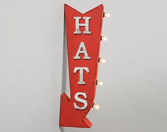 """On Sale! 25"""" HATS Metal Arrow Sign - Plugin or Battery Operated - Hat Clothing Apparel Sports Cowboy - Double Sided Rustic Marquee Light Up"""