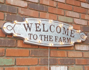 ON SALE! Large Rustic Metal Welcome To The Farm House Farmhouse Farmers Market Marquee Light Up Sign