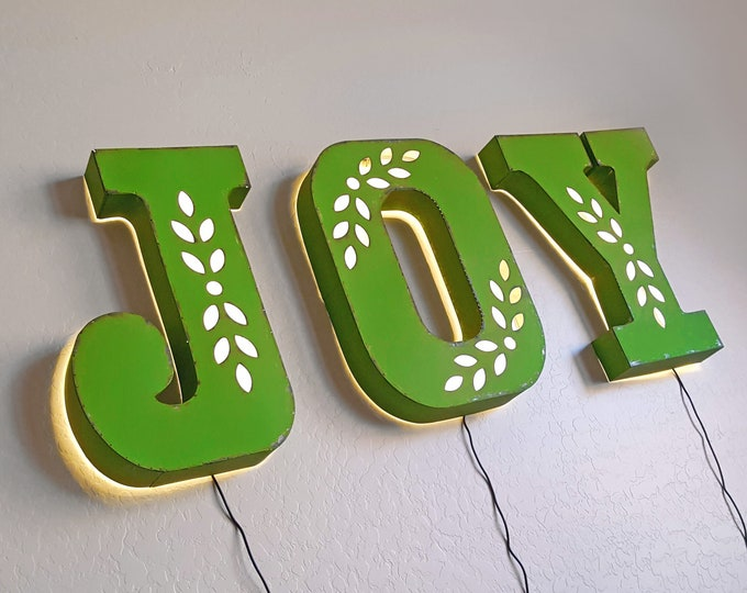 "Featured listing image: On Sale! 18"" JOY Backlit Metal Sign - Plugin - Holiday Festive Holly Christmas - Rustic Marquee Vintage Style Cutout Light Up"