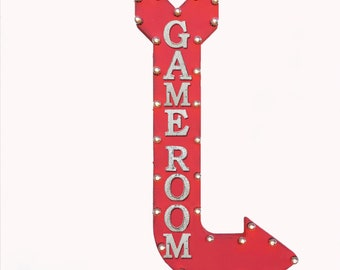 "On Sale! 48"" GAME ROOM Metal Arrow Sign - Play Games Arcade Pool Hall Cue 8 Ball Poker - Vintage Rustic Curved Marquee Light Up"