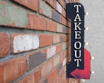 "On Sale! 30"" TAKE OUT - Metal Arrow Sign - Plugin or Battery Operated - Check Out Pick Up To Go Pay - Double Sided Rustic Marquee Light Up"