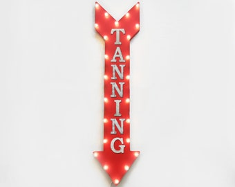 "On Sale! 48"" TANNING Metal Sign - Plugin or Battery Operated - Glow Bronzer Tan Salon Boutique - Vintage Rustic Marquee Arrow Light Up"