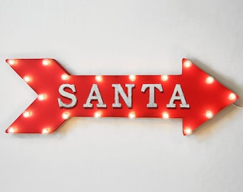 "On Sale! 36"" SANTA Metal Arrow Sign - Plugin or Battery Operated Led - Claus Merry Christmas Happy Holidays Cheers - Rustic Marquee Light up"