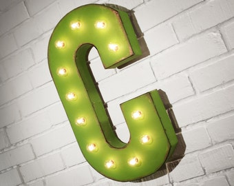 "On Sale! 21"" Letter C Metal Sign - Rustic Vintage Style Custom Marquee Light Up Alphabet Letters"