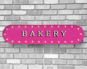 """On Sale! 39"""" BAKERY Metal Oval Sign - Pastries Sweet Treats Shop Donut Bagel Bread Danish Coffee - Vintage Style Rustic Marquee Light Up"""