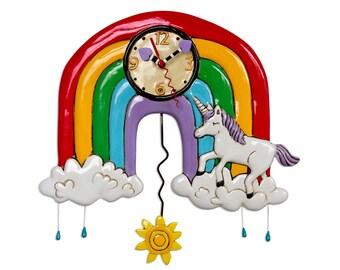 Rainbows & Unicorns - Whimsical Colorful - Animated Pendulum Wall Clock