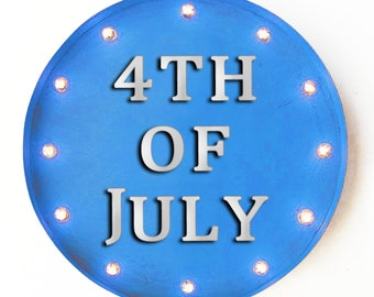"""On Sale! 20"""" 4TH OF JULY Round Metal Sign - Plugin or Battery Operated - Holiday Festive Red White Blue - Rustic Vintage Marquee Light Up"""