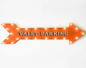 "On SALE! 48"" VALET PARKING Metal Arrow Sign - ValetPark Garage Restaurant - Plugin or Battery Operated led Rustic Light Up Marquee"