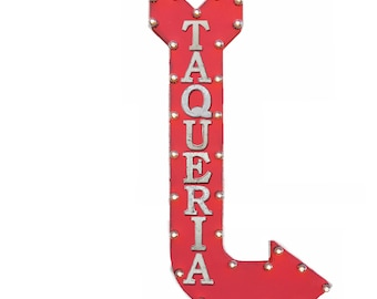 "ON SALE! 48"" TAQUERIA Tacos Truck Stand Mexican Food Plug-In or Battery Operated led Vintage Rustic Metal Curved Arrow Marquee Light Up Sign"
