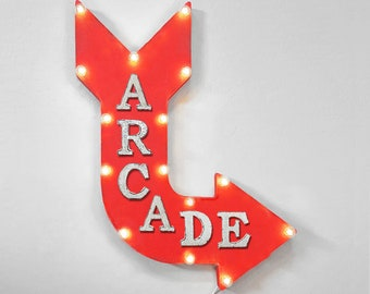 "On Sale! 24"" ARCADE Curved Metal Arrow Sign - Pinball Video Games Game Room - Rustic Vintage Marquee Light Up"