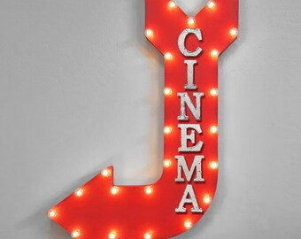 """ON SALE! 36"""" CINEMA Movies Showtime ShowEntertainment Plug-In or Battery Operated led Open Light Up Large Rustic Metal Marquee Sign Arrow"""