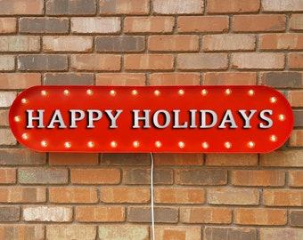 "On Sale! 39"" HAPPY HOLIDAYS Festive Christmas Seasons Greetings Santa Vintage Style Rustic Metal Marquee Light Up Sign"