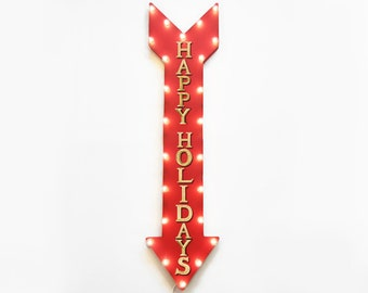 """On Sale! 48"""" HAPPY HOLIDAYS Christmas Seasons Greetings Santa Plugin or Battery Operated led Rustic Metal Light Up Arrow Marquee Sign"""
