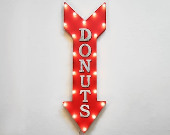 """ON SALE! 36"""" DONUTS Bakery Pastry Breakfast Yum Plug-In or Battery Operated led Light Up Restaurant Large Rustic Metal Marquee Sign Arrow"""