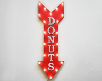 "On Sale! 36"" DONUTS Metal Arrow Sign - Plugin or Battery Operated Led - Bakery Pastry Breakfast Coffee Yum - Rustic Marquee Light up"