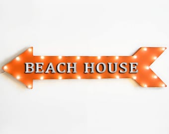 "On Sale! 48"" BEACH HOUSE Metal Arrow Sign - Bungalow Vacation Rental Rentals - Plugin Battery Operated led Rustic Light Up Marquee"
